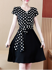 V-Neck  Bowknot  Polka Dot Skater Dress