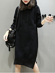 Hooded  Plain Shift Dress