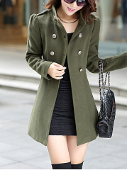 High Neck Double Breasted Plain Woolen Coat