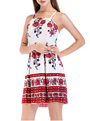 Spaghetti Strap  Inverted Pleat  Floral Tribal Printed Skater Dress