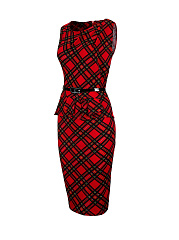 Classic Plaid Ruffle Trim Round Neck Bodycon Dress