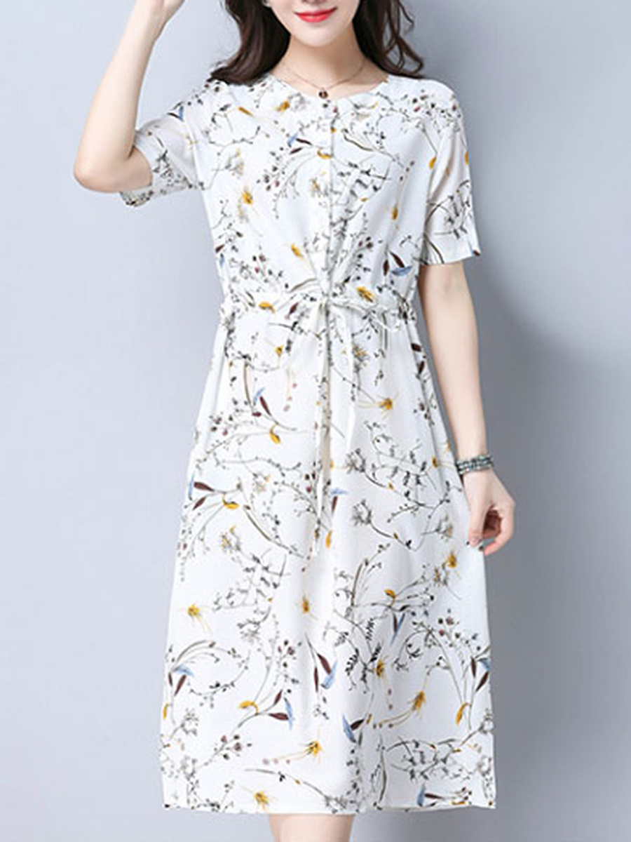Drawstring Round Neck Pocket Printed Maxi Dress