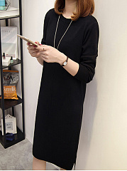 Round Neck  Slit  Plain Shift Dress
