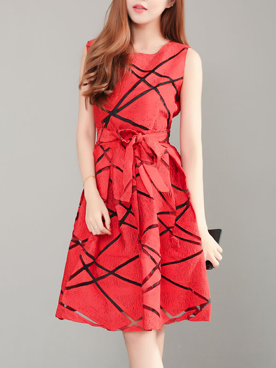 Round Neck  Bowknot  Geometric Skater Dress