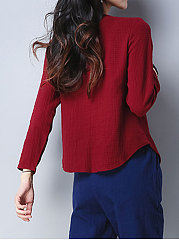 Surplice  Plain  Long Sleeve Blouses