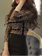Autumn Spring Winter  Cotton  Women  High Neck  Lace  Long Sleeve Blouses