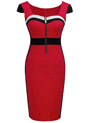 Square Neck Zips Color Block Blend Bodycon Dress