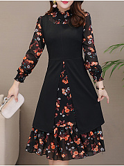 Crew Neck  Patchwork  Floral Plain Skater Dress