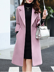Fold-Over Collar  Plain  Petal Sleeve  Long Sleeve Coats