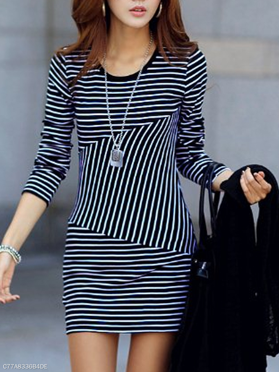 Round Neck  Striped Bodycon Dress