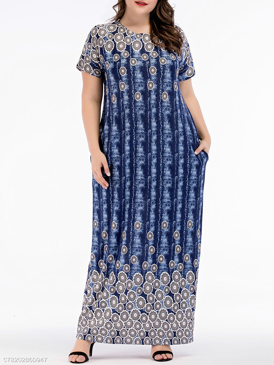 Round Neck  Abstract Print Plus Size Midi & Maxi Dresses