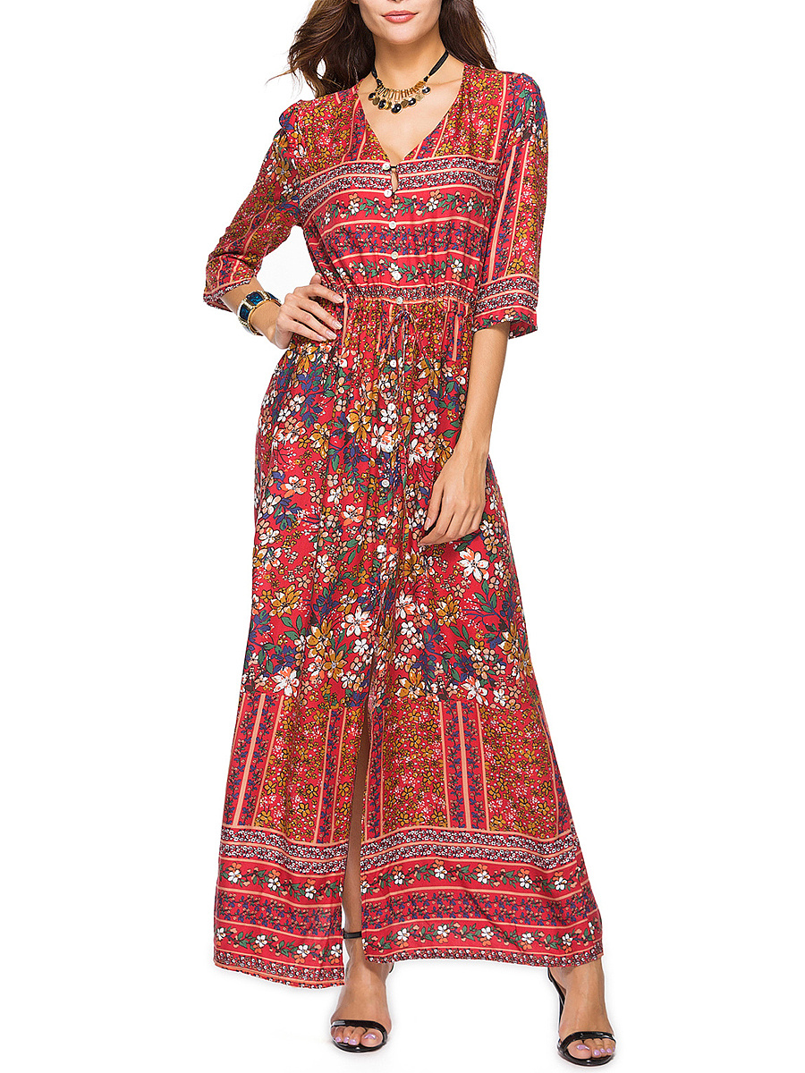 V-Neck  Printed  Polyester Maxi Dress