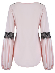 Decorative Lace Curved Hem Long Sleeve T-Shirt