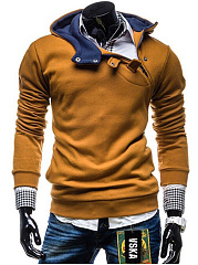 Casual Men Diagonal Buttons Hoodie