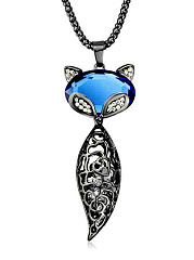 Hollow Out Crystal Fox Pendant Long Necklace