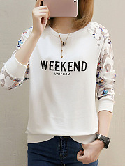 Round Neck  Patchwork  Letters Printed Long Sleeve T-Shirts