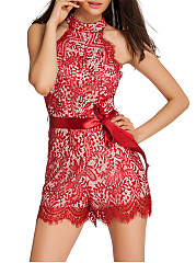 Band-Collar-Bowknot-Hollow-Out-Plain-Lace-Romper