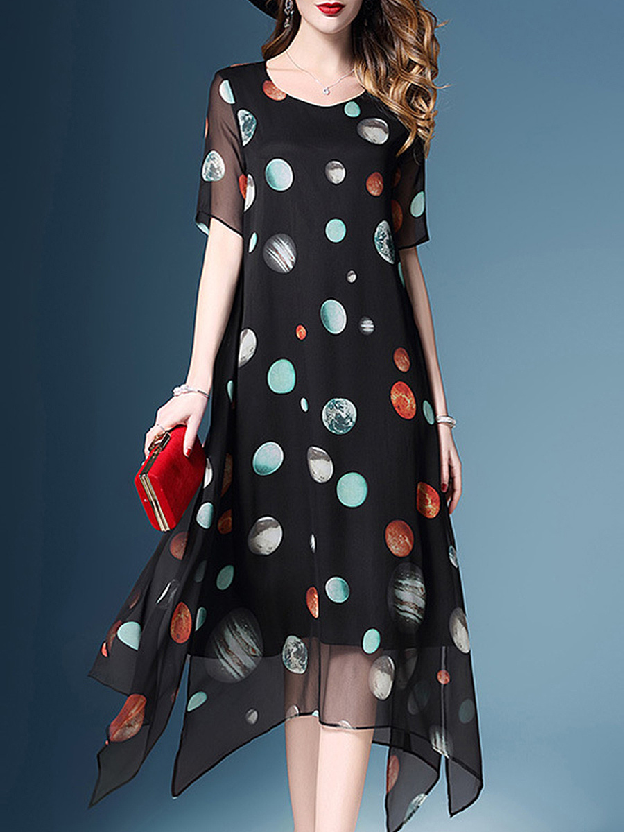 Round Neck  Asymmetric Hem  Print Maxi Dress