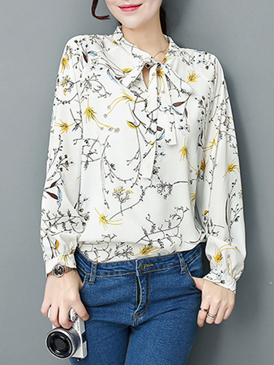 Bow  Floral Print Blouses
