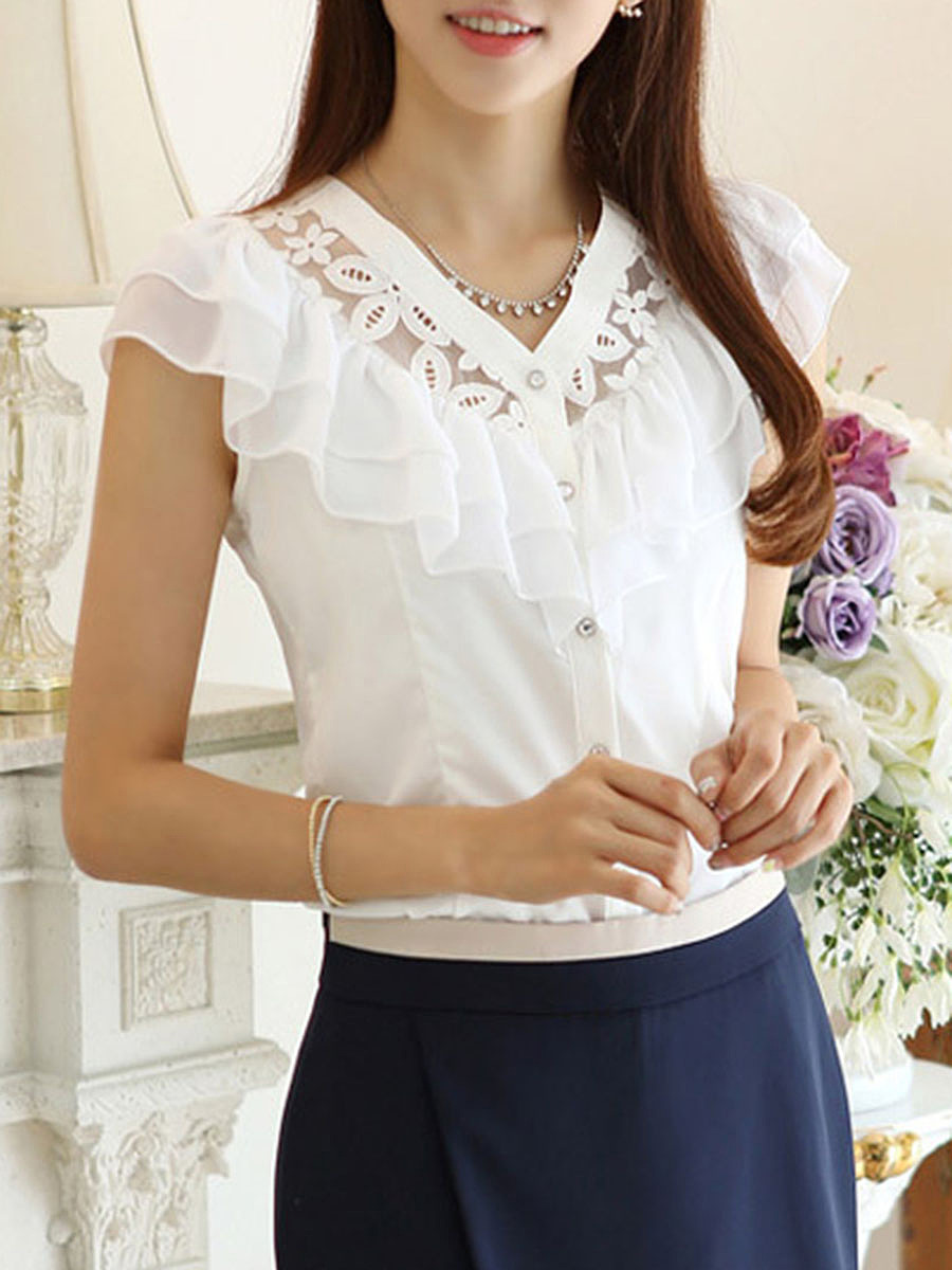 V-Neck  Ruffle Trim  Hollow Out Plain Short Sleeve T-Shirt