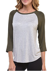Round Neck  Color Block  Raglan Sleeve Long Sleeve T-Shirts