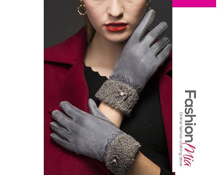 Fleece Warm Winter Leather Gloves C7D9CB1E68B7