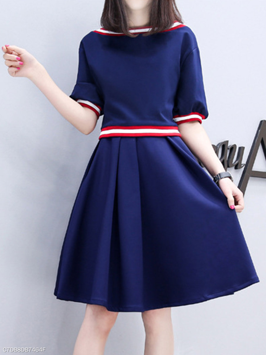 Casual Boat Neck Striped Skater Dress
