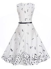 Round Neck  Belt  Printed  Cotton Skater Dress
