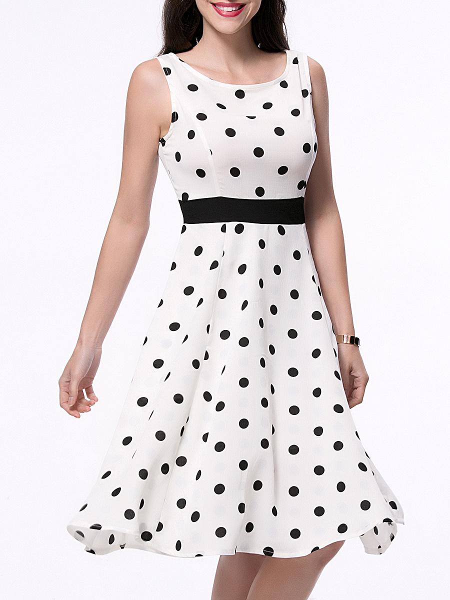 Classic Polka Dot Sleeveless Round Neck Skater Dress