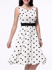 Classic Polka Dot Sleeveless Round Neck Skater Dress