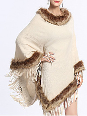 Faux Fur Collar  Plain  Long Sleeve Cape