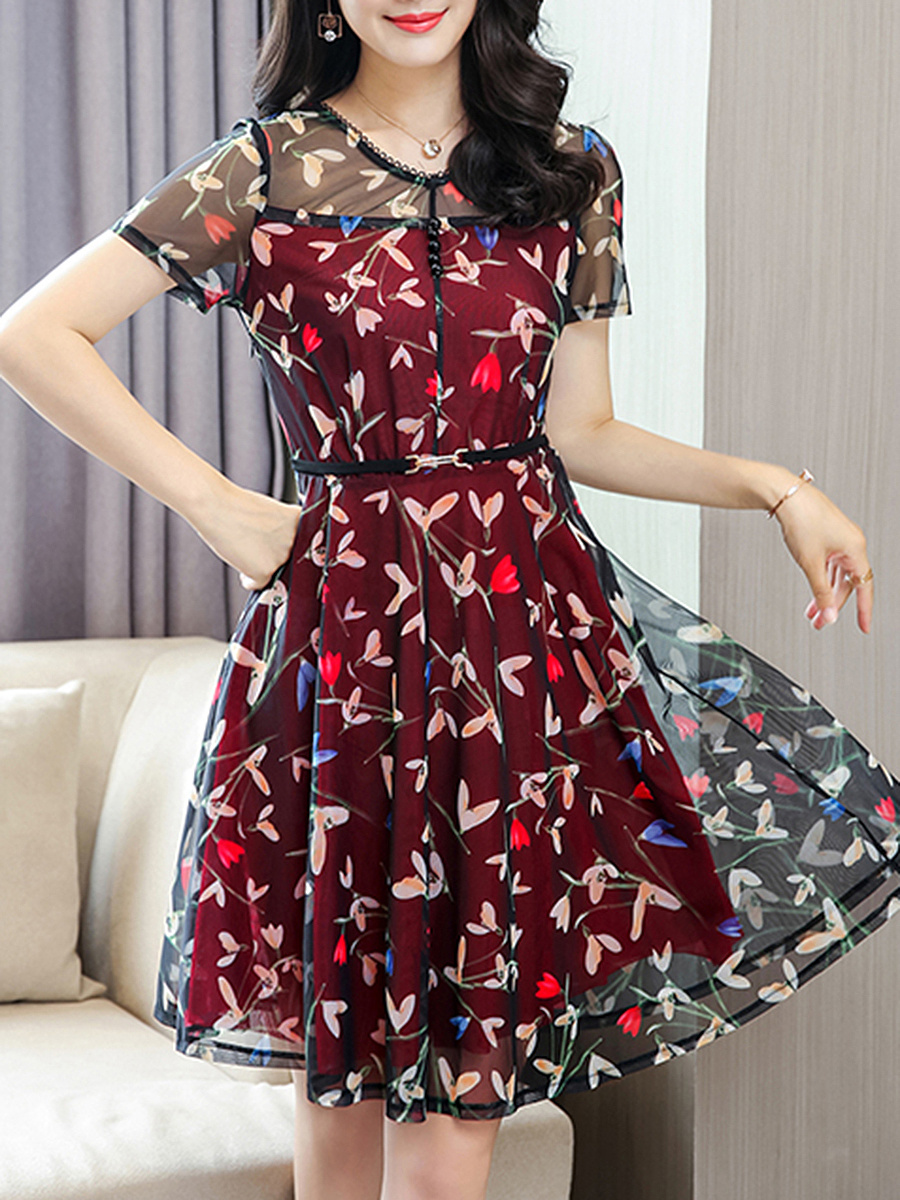 Hollow Out Round Neck Printed Chiffon Skater Dress