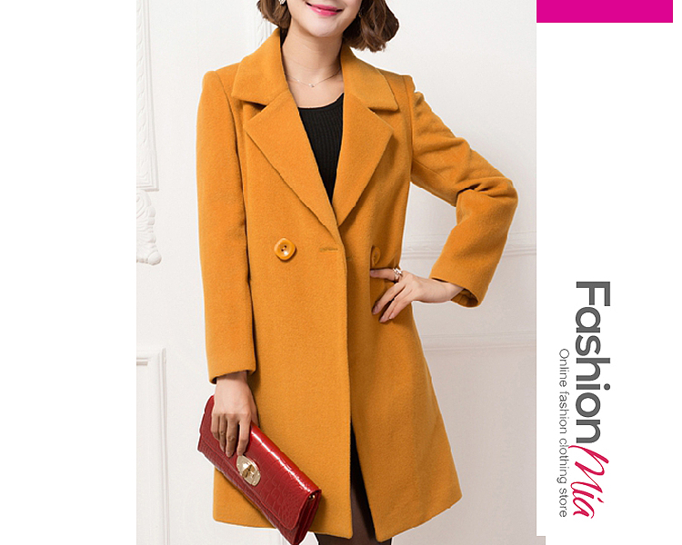 gender:women, hooded:no, thickness:regular, brand_name:fashionmia, outerwear_type:coat, style:elegant*fashion*japan & korear, material:woolen, collar&neckline:lapel, sleeve:long sleeve, more_details:decorative button, pattern_type:plain, supplementary_matters:all dimensions are measured manually with a deviation of 2 to 4cm., occasion:basic*daily*date, season:autumn*winter, package_included:top*1, length:89,shoulder:37,sleeve length:56,bust:89,