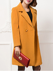 Lapel  Decorative Button  Plain  Long Sleeve Coats