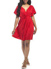 Casual Deep V-Neck Plain Elastic Waist Empire Skater Dress