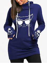 Hooded  Cartoon Casual Shift Dress