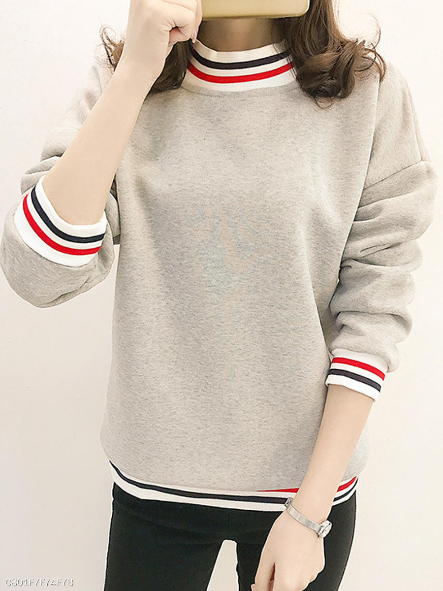 Round Neck  Rib Knit Cuffs  Color Block Plain  Long Sleeve Sweatshirts