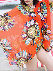 Lightweight  Multi-Way  Abstract Print  Kimono Sleeve  Long Sleeve Tunic
