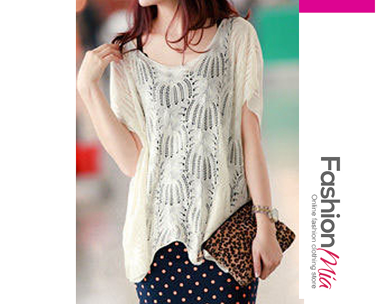 Floral Hollow Out  Short Sleeve Sweaters Pullover
