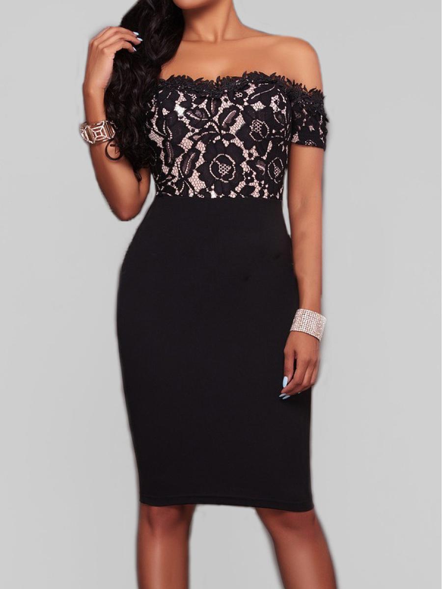 Open Shoulder  Lace Bodycon Dress
