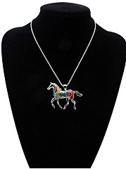 Alloy Horse Pendant Necklace And Earrings