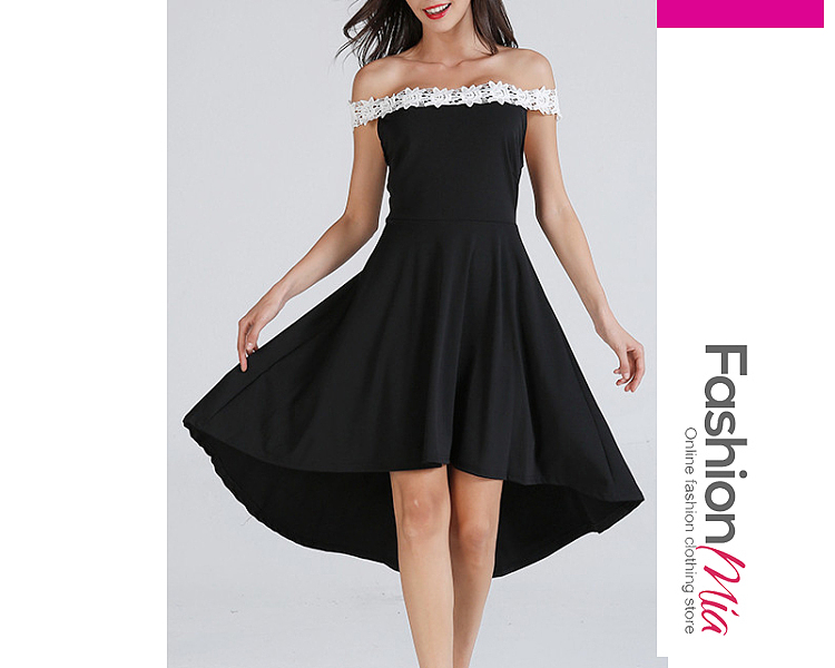 thickness:regular, brand_name:fashionmia, down_content:100%, style:fashion, material:polyester, collar&neckline:open shoulder, pattern_type:plain, length:high-low, how_to_wash:cold  hand wash, supplementary_matters:all dimensions are measured manually with a deviation of 2 to 4cm., occasion:date,event,party, season:autumn,spring,summer, dress_silhouette:flared, package_included:dress*1, front lengthback lengthbustwaist