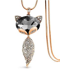 Rhinestone Fox Pendant Long Necklace