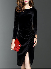 Round Neck Slit Plain Velvet Shift Dress