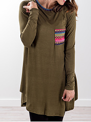 Autumn Spring  Cotton  Women  Round Neck  Asymmetric Hem Patchwork  Geometric Long Sleeve T-Shirts