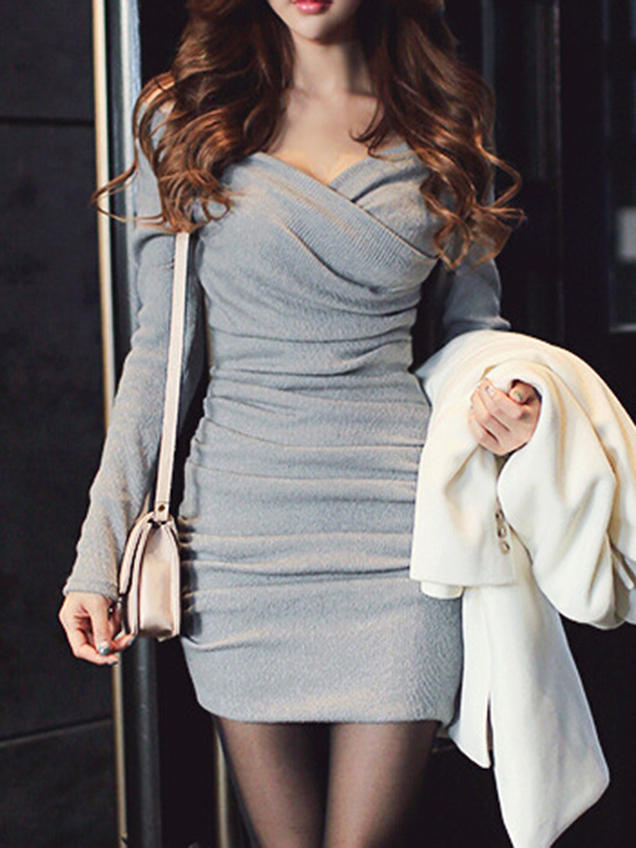 Sexy V-Neck Ruched Plain Knitted Mini Bodycon Dress