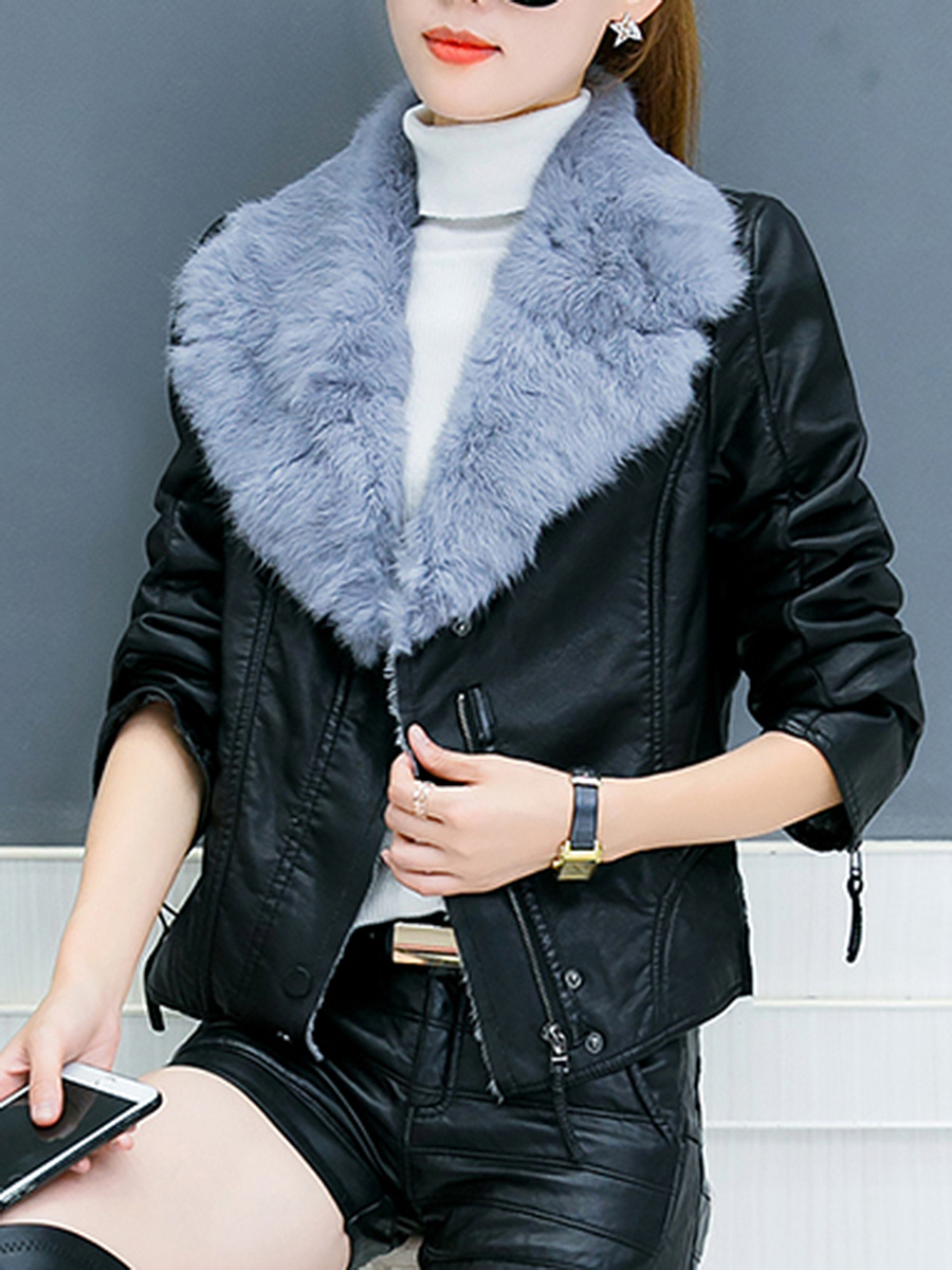 Faux Fur Collar Zips PU Leather Jacket