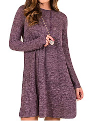 Round Neck  Plain Casual Shift Dress