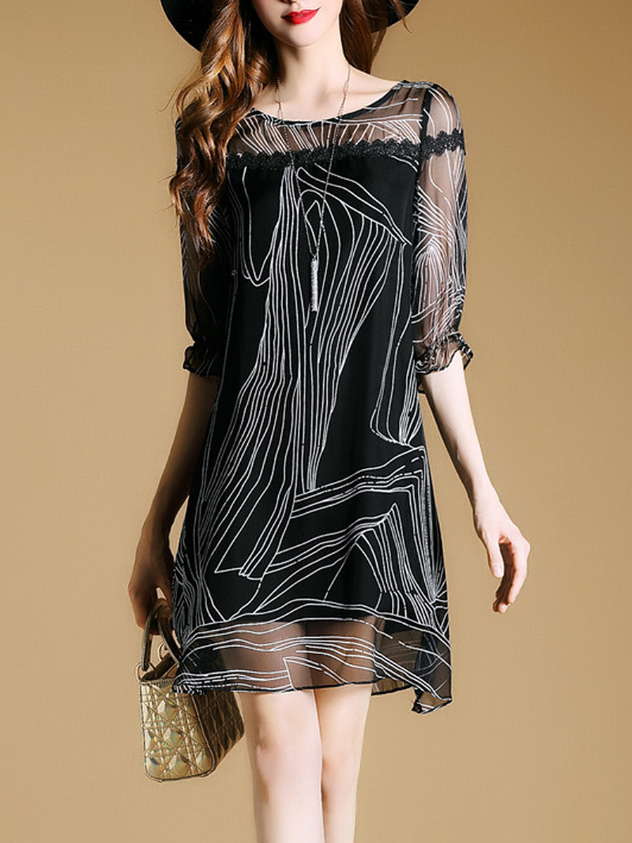 Half Sleeve Hollow Out Printed Shift Dress