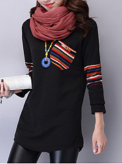 Round Neck Striped Patch Pocket Long Sleeve T-Shirt